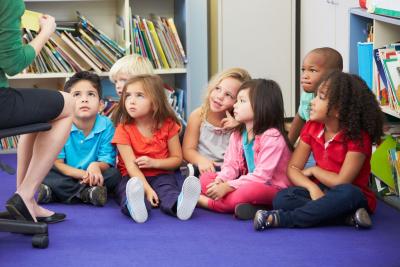 group of elementary children listening to teacher
